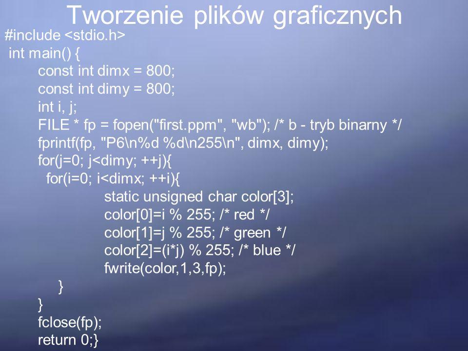 Tworzenie plików graficznych #include int main() { const int dimx = 800; const int dimy = 800; int i, j; FILE * fp = fopen(