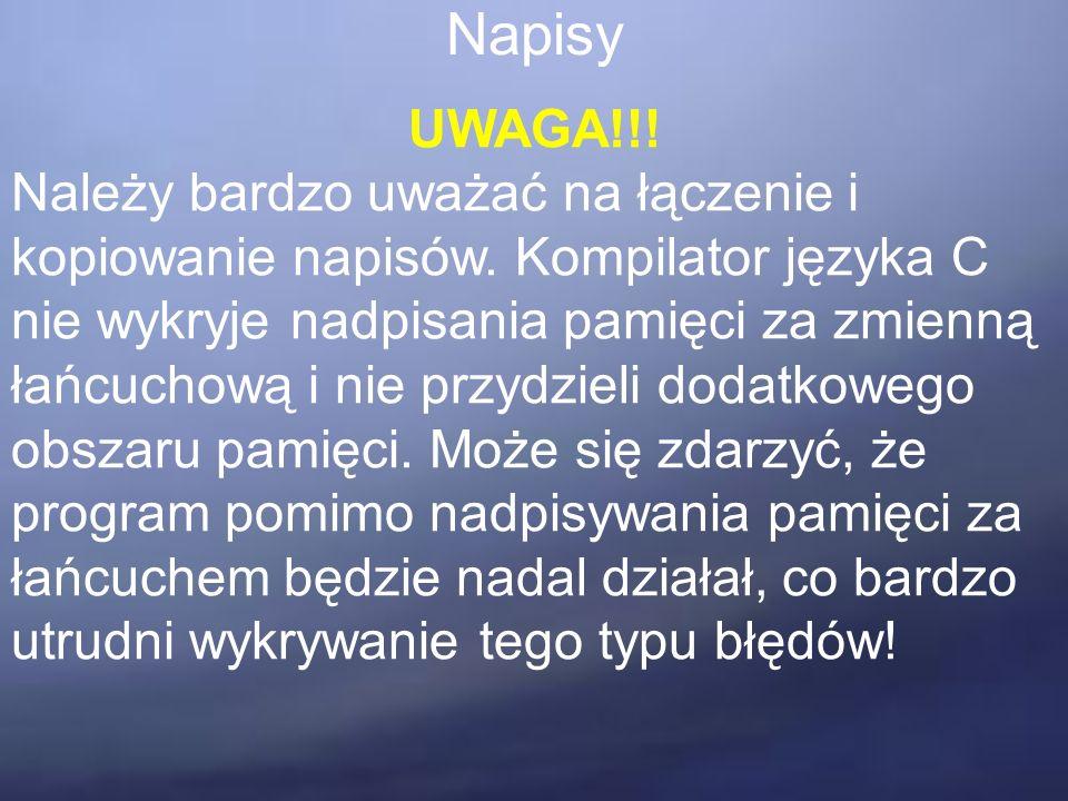 Napisy UWAGA!!. Należy bardzo uważać na łączenie i kopiowanie napisów.