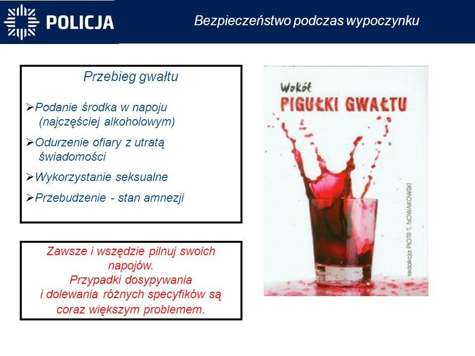 Przebieg gwałtu  Podanie środka w napoju (najczęściej alkoholowym)  Odurzenie ofiary z utratą świadomości  Wykorzystanie seksualne  Przebudzenie - stan amnezji Zawsze i wszędzie pilnuj swoich napojów.