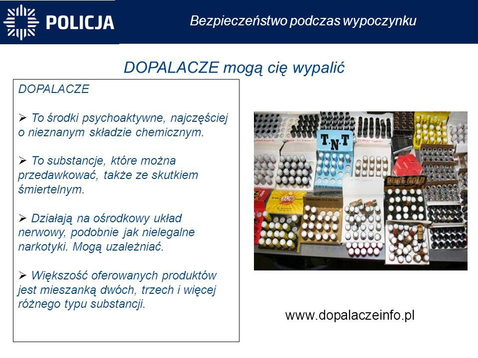 Bezpieczeństwo podczas wypoczynku DOPALACZE mogą cię wypalić DOPALACZE  To środki psychoaktywne, najczęściej o nieznanym składzie chemicznym.