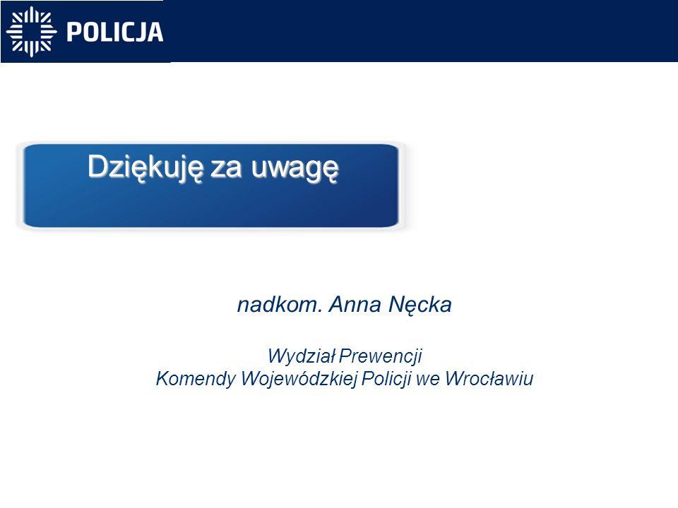 nadkom. Anna Nęcka Wydział Prewencji Komendy Wojewódzkiej Policji we Wrocławiu Dziękuję za uwagę