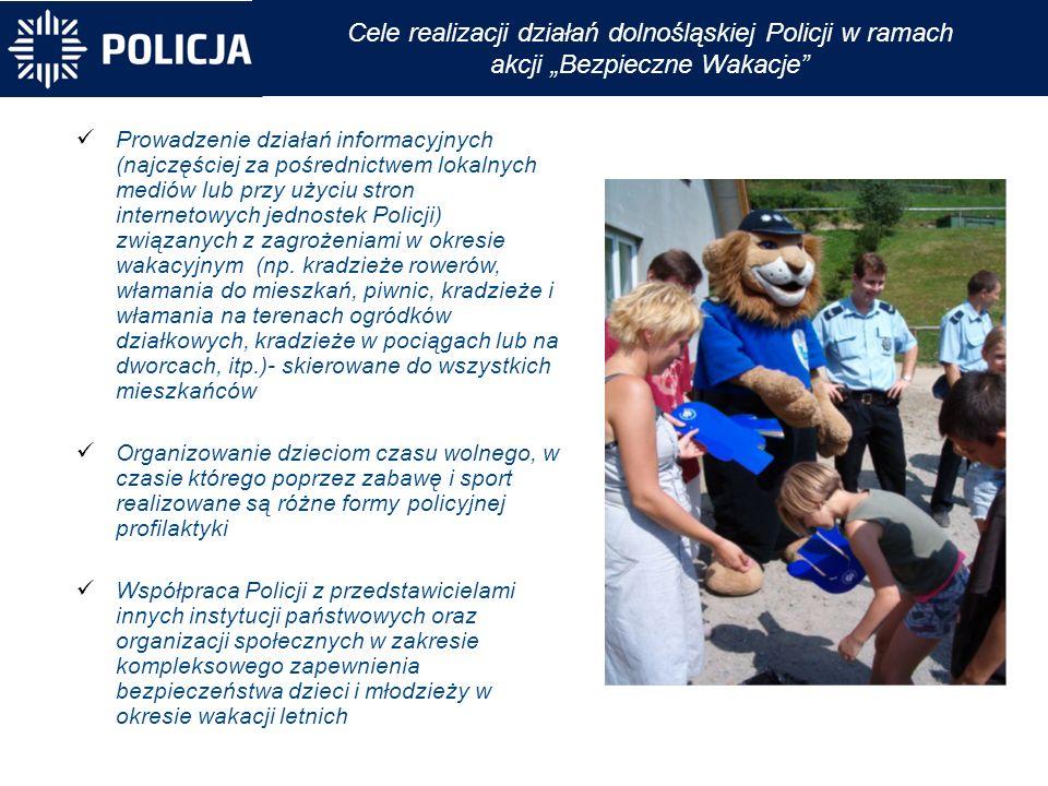 """Cele realizacji działań dolnośląskiej Policji w ramach akcji """"Bezpieczne Wakacje Prowadzenie działań informacyjnych (najczęściej za pośrednictwem lokalnych mediów lub przy użyciu stron internetowych jednostek Policji) związanych z zagrożeniami w okresie wakacyjnym (np."""