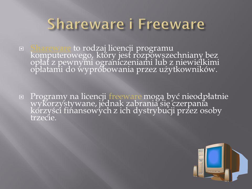  Shareware to rodzaj licencji programu komputerowego, który jest rozpowszechniany bez opłat z pewnymi ograniczeniami lub z niewielkimi opłatami do wypróbowania przez użytkowników.