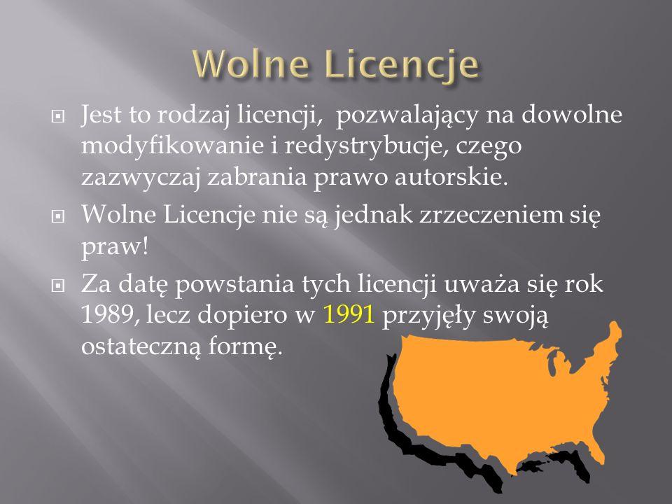  Jest to rodzaj licencji, pozwalający na dowolne modyfikowanie i redystrybucje, czego zazwyczaj zabrania prawo autorskie.