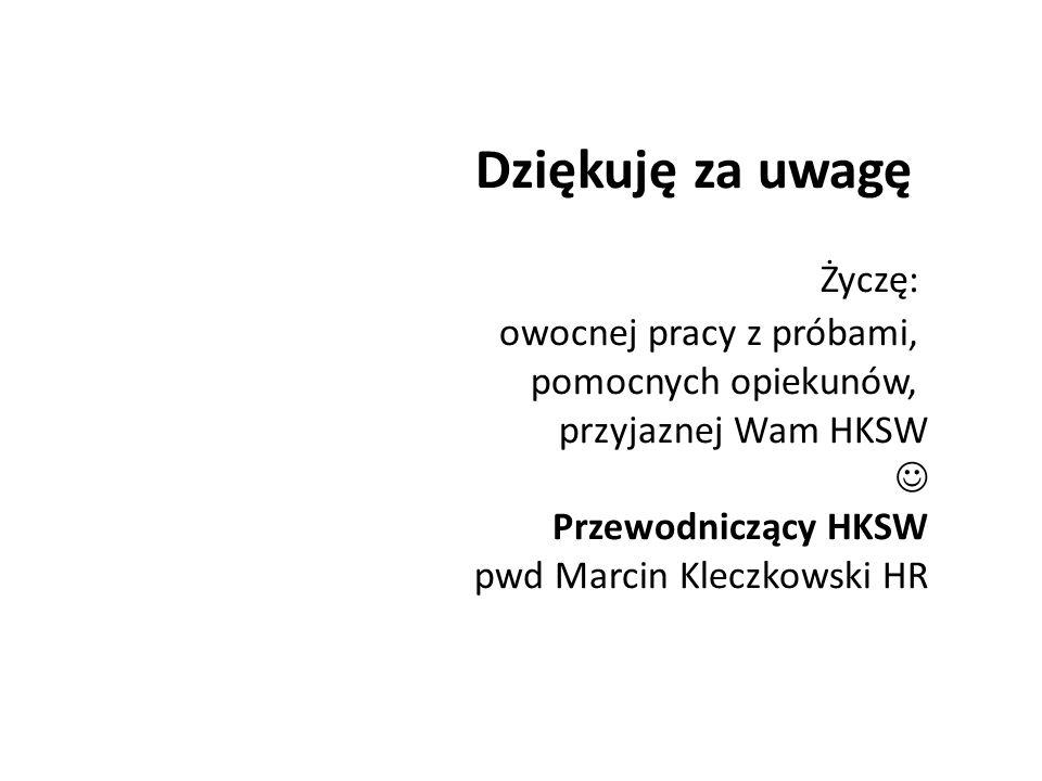 Dziękuję za uwagę Życzę: owocnej pracy z próbami, pomocnych opiekunów, przyjaznej Wam HKSW Przewodniczący HKSW pwd Marcin Kleczkowski HR