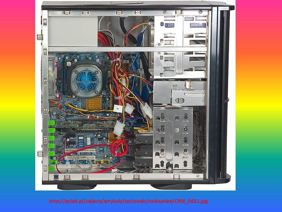 Aby nasz komputer działał, potrzebujemy części. Na ogół są one niewidoczne, bo kryją się w obudowie, zwaną inaczej JEDNOSTKĄ CENTRALNĄ. Nie jest to sł