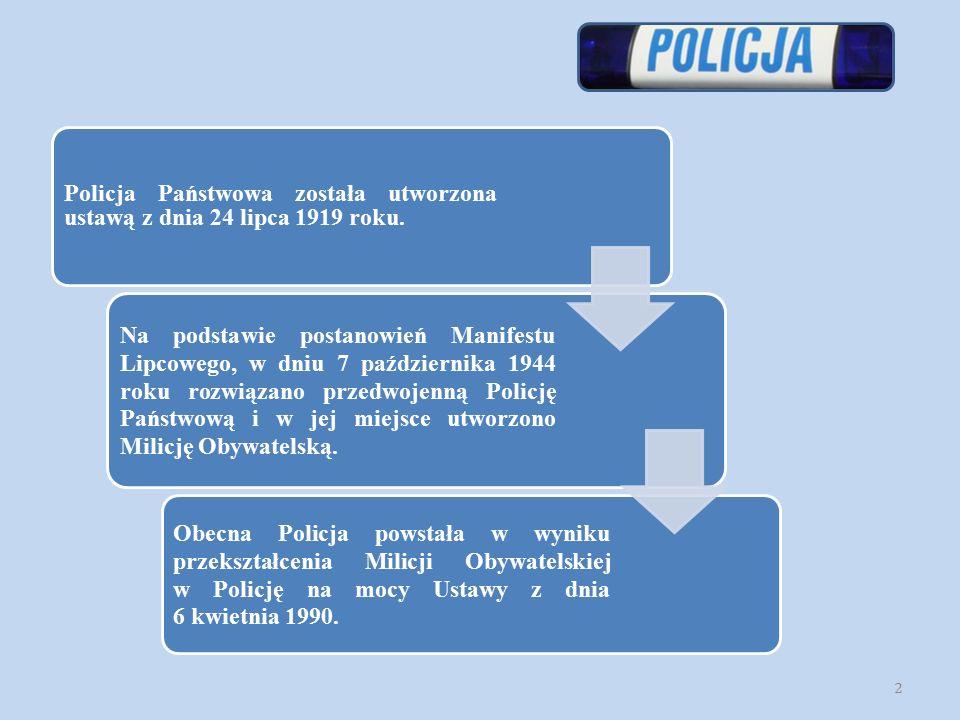 Do podstawowych zadań Policji należy: ochrona życia i zdrowia ludzi oraz ich mienia; zapewnienie spokoju w miejscach publicznych, w środkach komunikacji publicznej i w ruchu drogowym; wykrywanie przestępstw i wykroczeń oraz ściganie ich sprawców; współdziałanie z policjantami innych państw.
