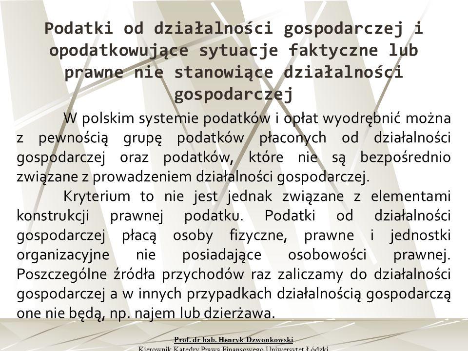 Podatki od działalności gospodarczej i opodatkowujące sytuacje faktyczne lub prawne nie stanowiące działalności gospodarczej W polskim systemie podatk