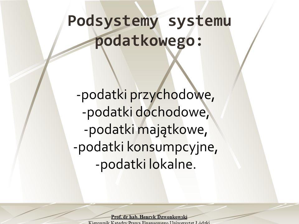 Podsystemy systemu podatkowego: -podatki przychodowe, -podatki dochodowe, -podatki majątkowe, -podatki konsumpcyjne, -podatki lokalne. Prof. dr hab. H