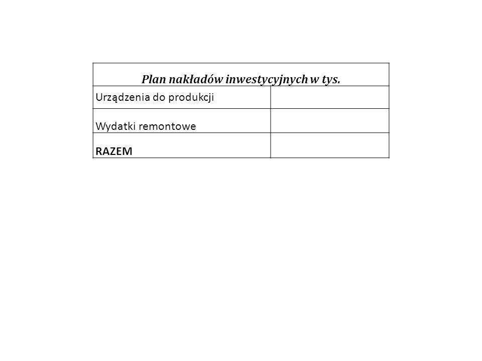 Plan nakładów inwestycyjnych w tys. Urządzenia do produkcji Wydatki remontowe RAZEM