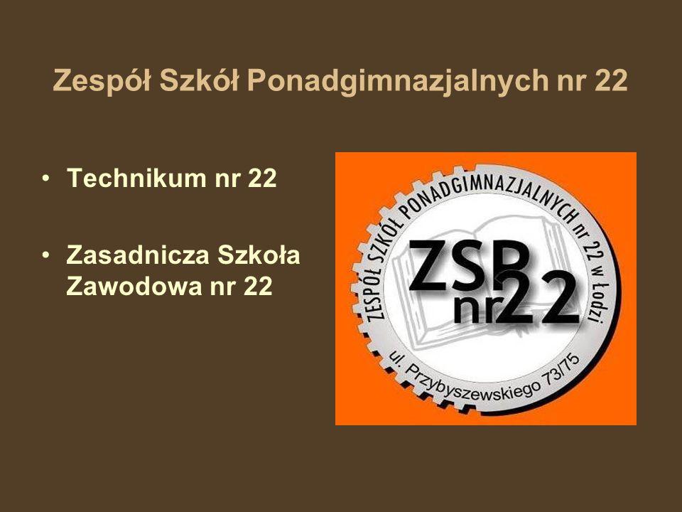 Zespół Szkół Ponadgimnazjalnych nr 22 Technikum nr 22 Zasadnicza Szkoła Zawodowa nr 22