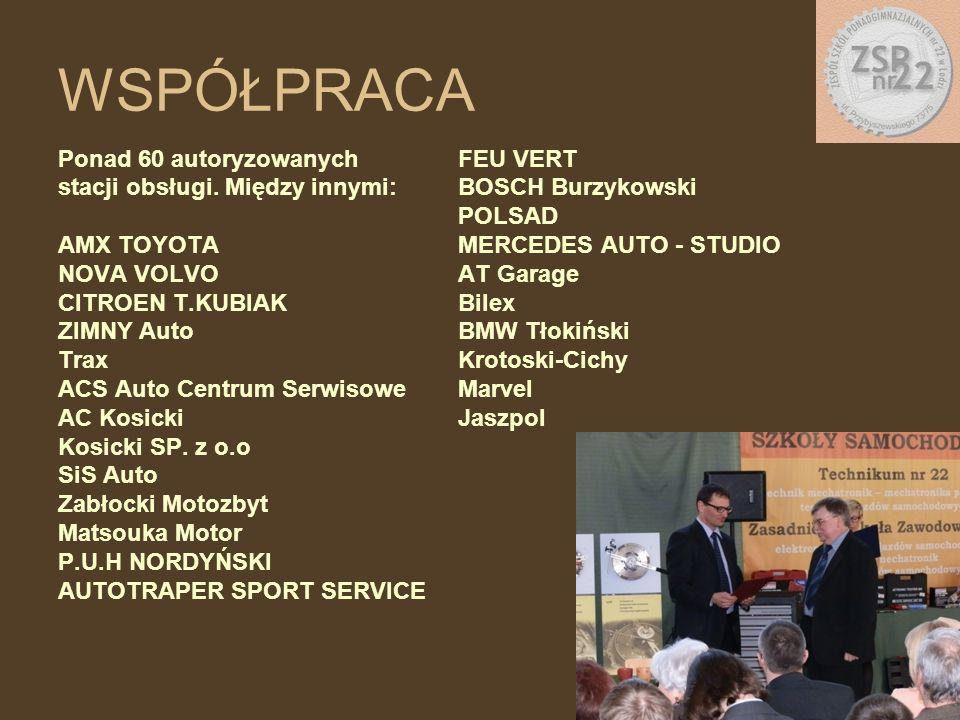 WSPÓŁPRACA Ponad 60 autoryzowanych stacji obsługi. Między innymi: AMX TOYOTA NOVA VOLVO CITROEN T.KUBIAK ZIMNY Auto Trax ACS Auto Centrum Serwisowe AC