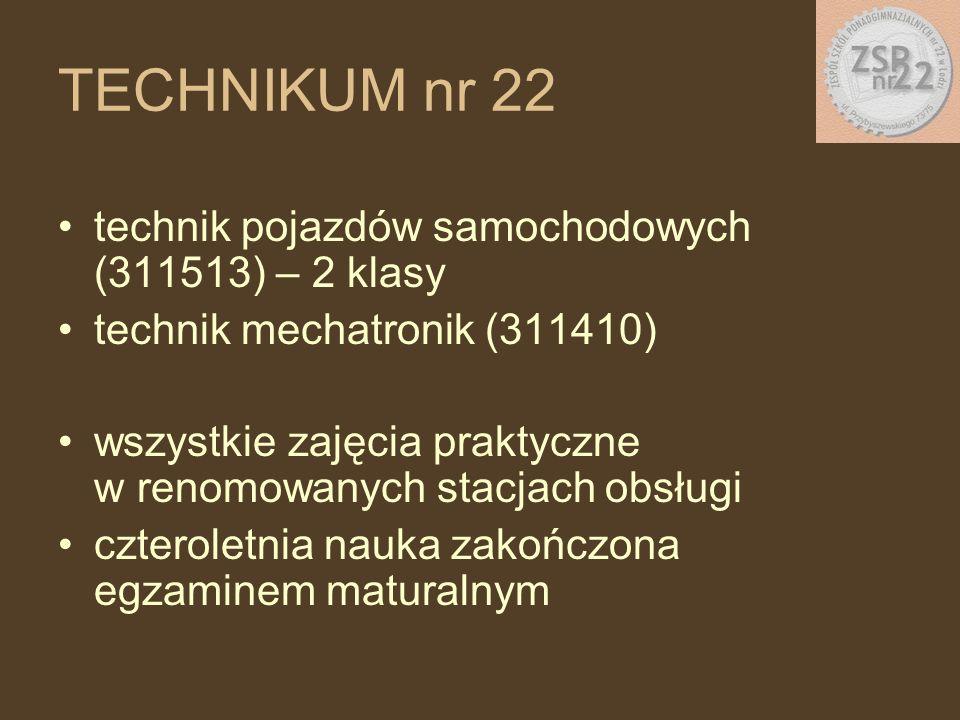 technik pojazdów samochodowych (311513) – 2 klasy technik mechatronik (311410) wszystkie zajęcia praktyczne w renomowanych stacjach obsługi czteroletnia nauka zakończona egzaminem maturalnym TECHNIKUM nr 22