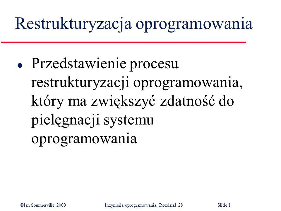 ©Ian Sommerville 2000 Inżynieria oprogramowania, Rozdział 28Slide 12 Przyczyny konieczności tłumaczenia kodu źródłowego l Aktualizacja platformy sprzętowej l Braki w umiejętnościach personelu l Zmiany strategii firmy l Brak wspomagania dla oprogramowania