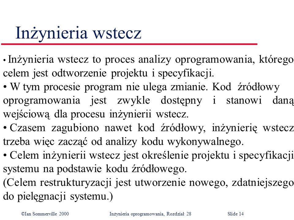 ©Ian Sommerville 2000 Inżynieria oprogramowania, Rozdział 28Slide 14 Inżynieria wstecz Inżynieria wstecz to proces analizy oprogramowania, którego cel
