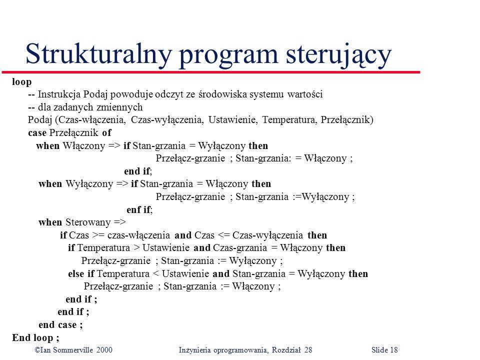 ©Ian Sommerville 2000 Inżynieria oprogramowania, Rozdział 28Slide 18 Strukturalny program sterujący loop -- Instrukcja Podaj powoduje odczyt ze środow