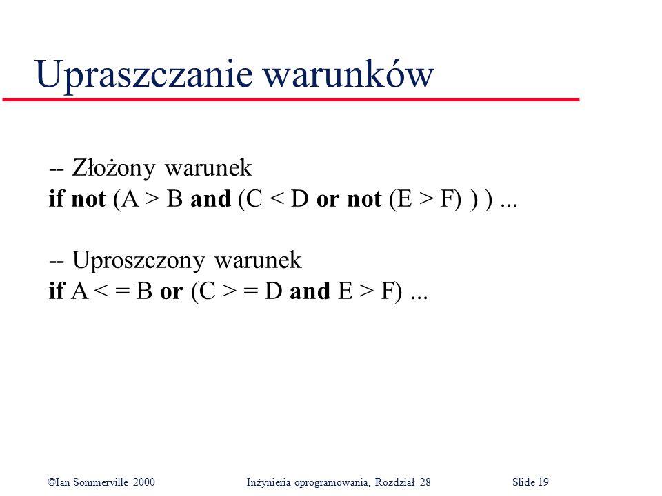 ©Ian Sommerville 2000 Inżynieria oprogramowania, Rozdział 28Slide 19 Upraszczanie warunków -- Złożony warunek if not (A > B and (C F) ) )... -- Uprosz