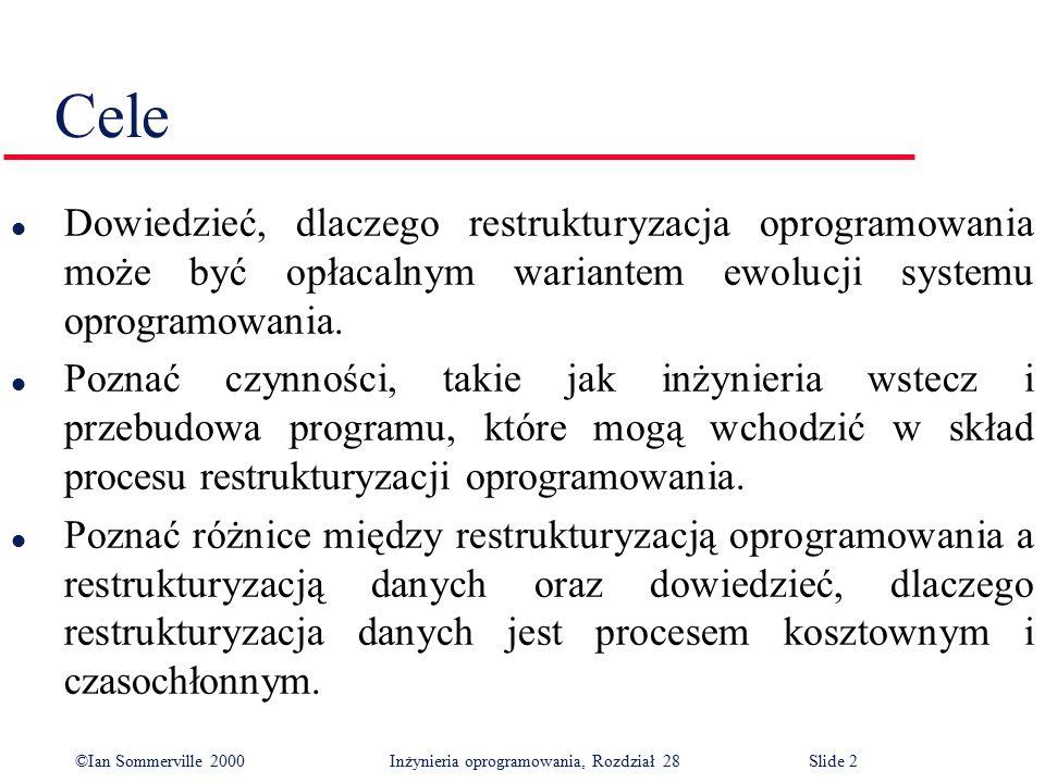 ©Ian Sommerville 2000 Inżynieria oprogramowania, Rozdział 28Slide 3 Zawartość l Tłumaczenie kodu źródłowego l Inżynieria wstecz l Ulepszanie struktury programu l Modularyzacja programu l Restrukturyzacja danych