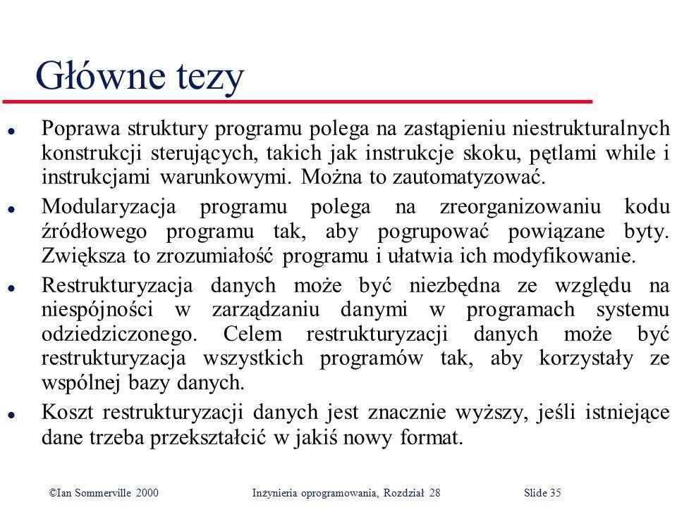 ©Ian Sommerville 2000 Inżynieria oprogramowania, Rozdział 28Slide 35 Główne tezy l Poprawa struktury programu polega na zastąpieniu niestrukturalnych
