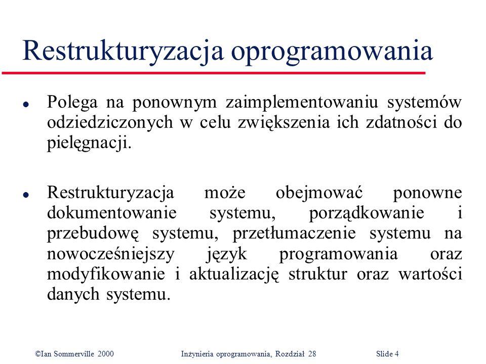 ©Ian Sommerville 2000 Inżynieria oprogramowania, Rozdział 28Slide 4 l Polega na ponownym zaimplementowaniu systemów odziedziczonych w celu zwiększenia ich zdatności do pielęgnacji.