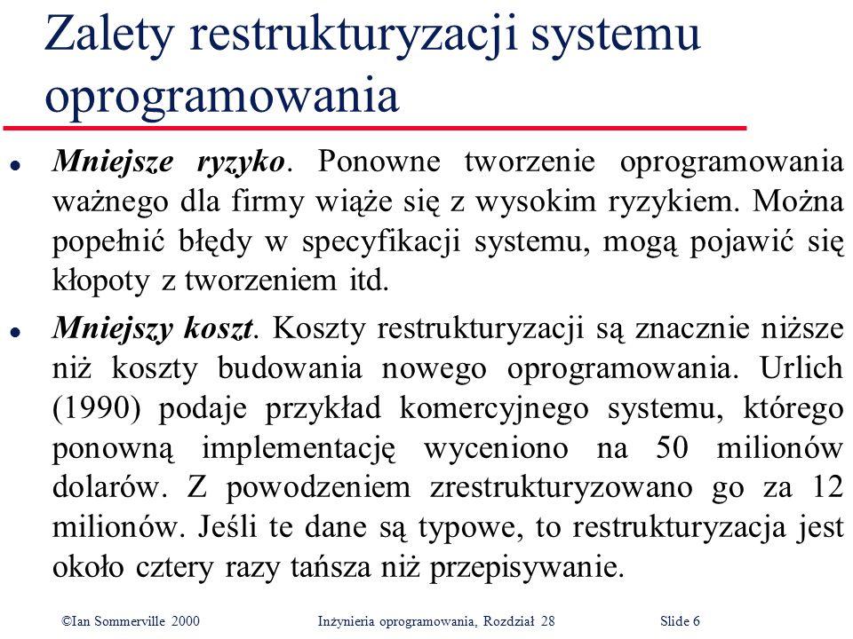 ©Ian Sommerville 2000 Inżynieria oprogramowania, Rozdział 28Slide 17 Program sterujący o logice spaghetti Początek:Podaj (Czas-włączenia, Czas-wyłączenia, Ustawienie, Temperatura, Przełącznik) if Przełącznik = Wyłączony goto Wyłączony if Przełącznik = Włączony goto Włączony goto Sterowany Wyłączony:if Stan-grzania = Włączony goto Wyłącz-grzanie goto Pętla Włączonyif Stan-grzania = Wyłączony goto Włącz-grzanie goto Pętla Sterowany:if Czas = Czas-włączenia goto Włączony if Czas = Czas-wyłączenia goto Wyłączony if Czas < Czas-włączenia goto Początek if Czas > Czas-wyłączenia goto Początek if temperatura > Ustawienie goto Wyłączony Wyłącz-grzanie:Stan-grzania := Wyłączony goto Przełączenie Włącz-grzanie:Stan-grzania := Włączony Przełączenie:Przełącz-grzanie Pętla:goto Początek