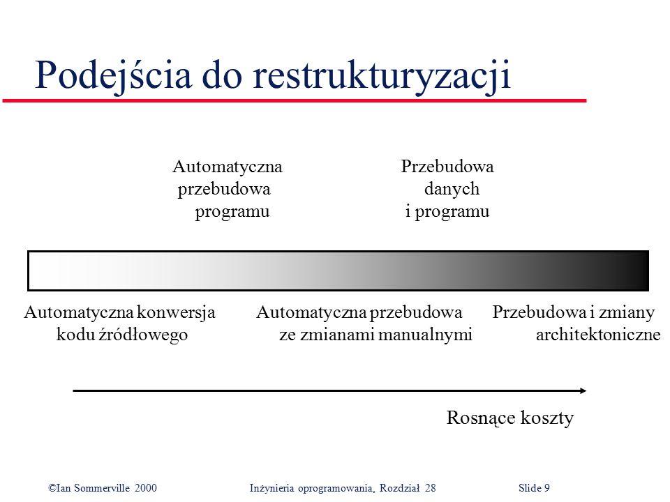 ©Ian Sommerville 2000 Inżynieria oprogramowania, Rozdział 28Slide 10 Inne czynniki mające wpływ na koszty restrukturyzacji l Jakość oprogramowania do restrukturyzacji.