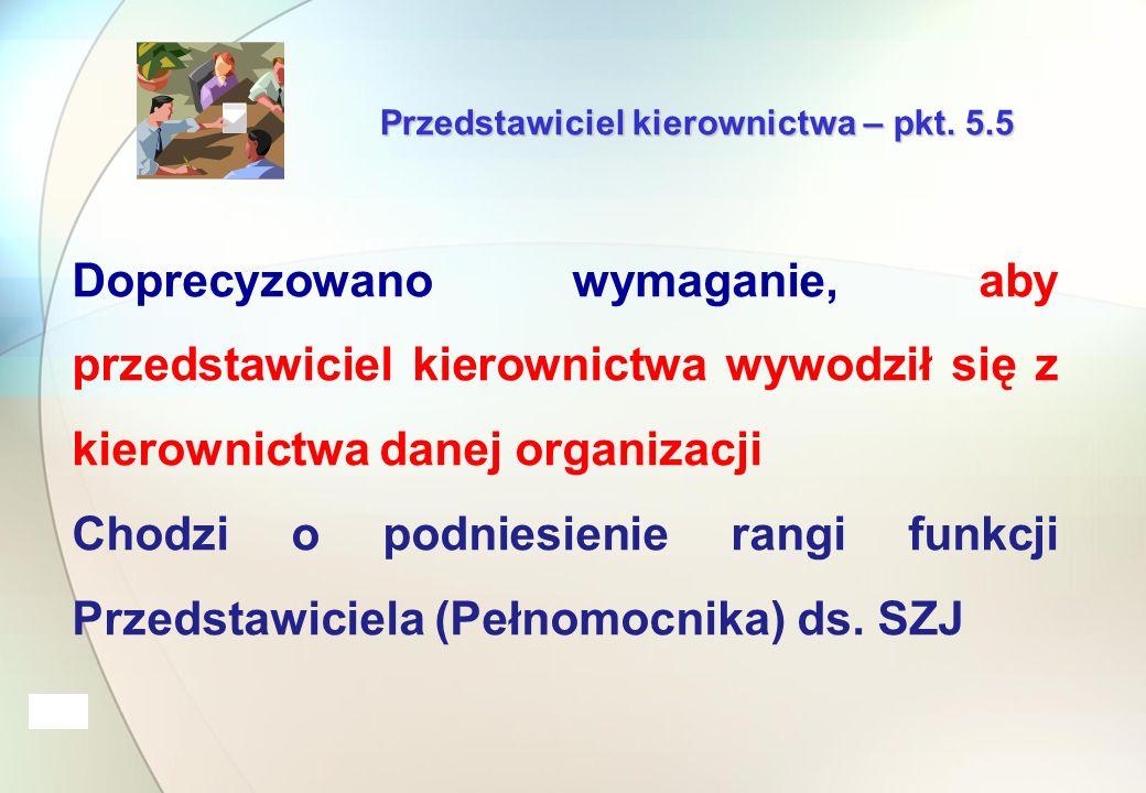 Przedstawiciel kierownictwa – pkt.