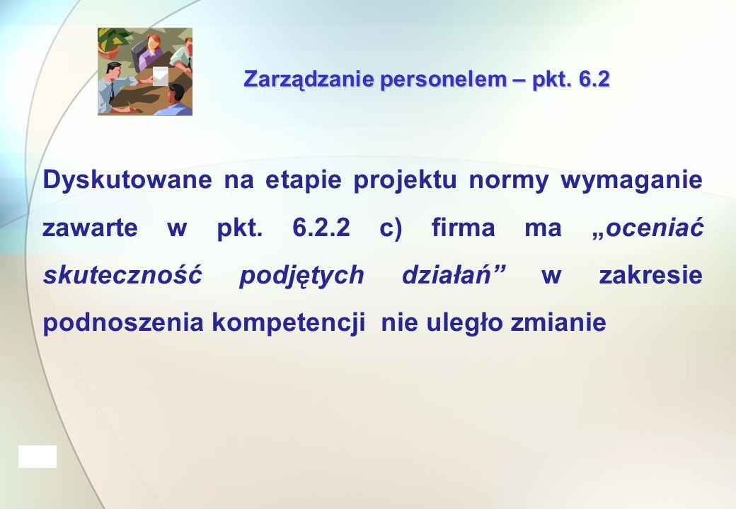 Zarządzanie personelem – pkt.6.2 Dyskutowane na etapie projektu normy wymaganie zawarte w pkt.