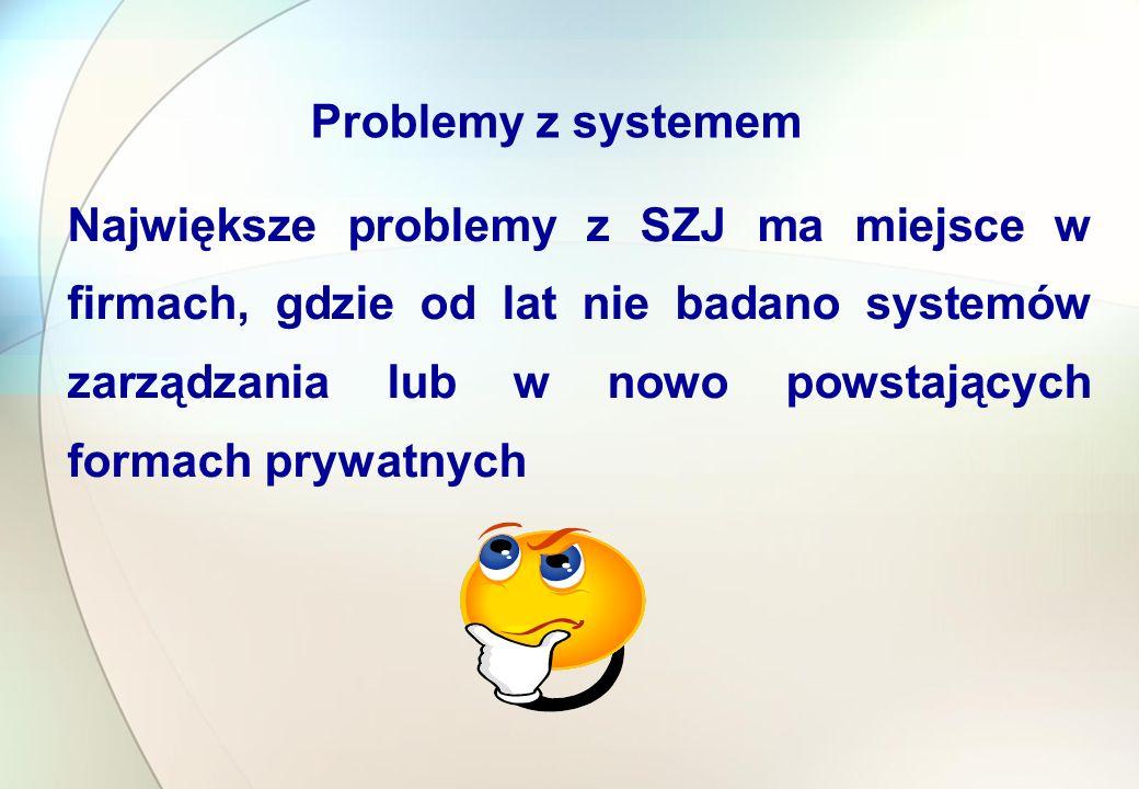 Największe problemy z SZJ ma miejsce w firmach, gdzie od lat nie badano systemów zarządzania lub w nowo powstających formach prywatnych Problemy z systemem