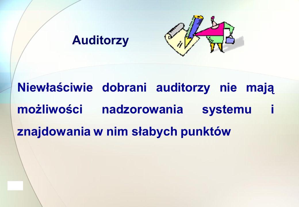 Auditorzy Niewłaściwie dobrani auditorzy nie mają możliwości nadzorowania systemu i znajdowania w nim słabych punktów