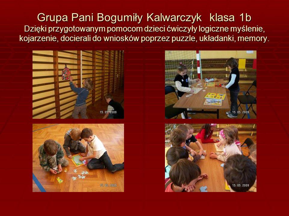 Grupa Pani Bogumiły Kalwarczyk klasa 1b Dzięki przygotowanym pomocom dzieci ćwiczyły logiczne myślenie, kojarzenie, docierali do wniosków poprzez puzzle, układanki, memory.