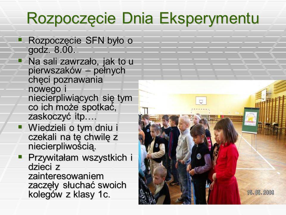 Rozpoczęcie Dnia Eksperymentu  Rozpoczęcie SFN było o godz.