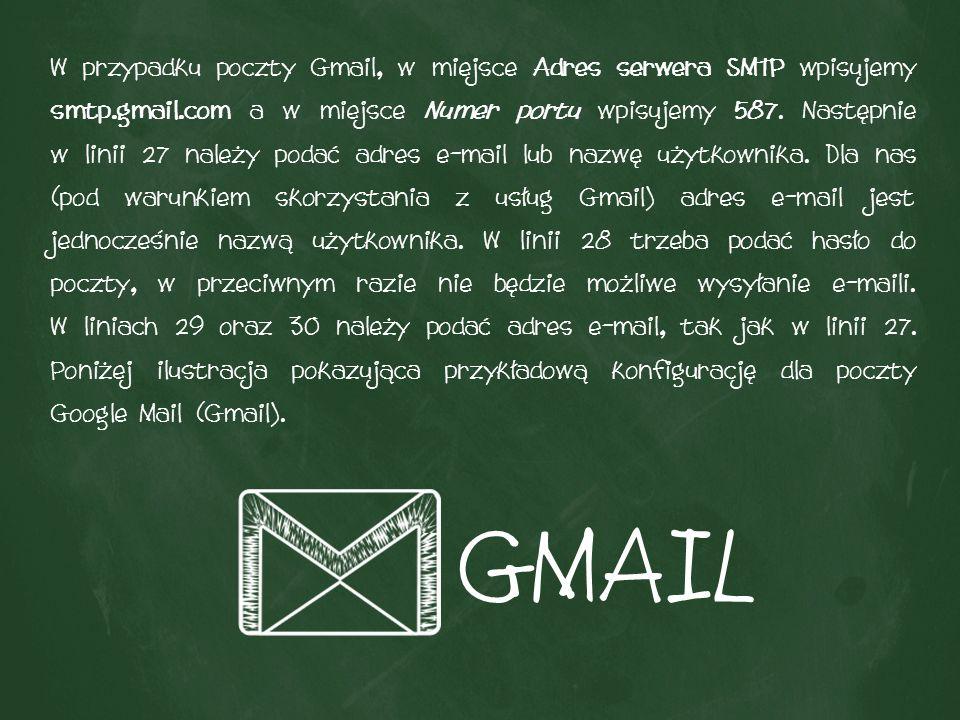 W przypadku poczty Gmail, w miejsce Adres serwera SMTP wpisujemy smtp.gmail.com a w miejsce Numer portu wpisujemy 587.
