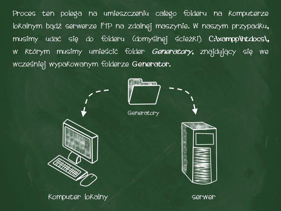 Proces ten polega na umieszczeniu całego folderu na komputerze lokalnym bądź serwerze FTP na zdalnej maszynie.