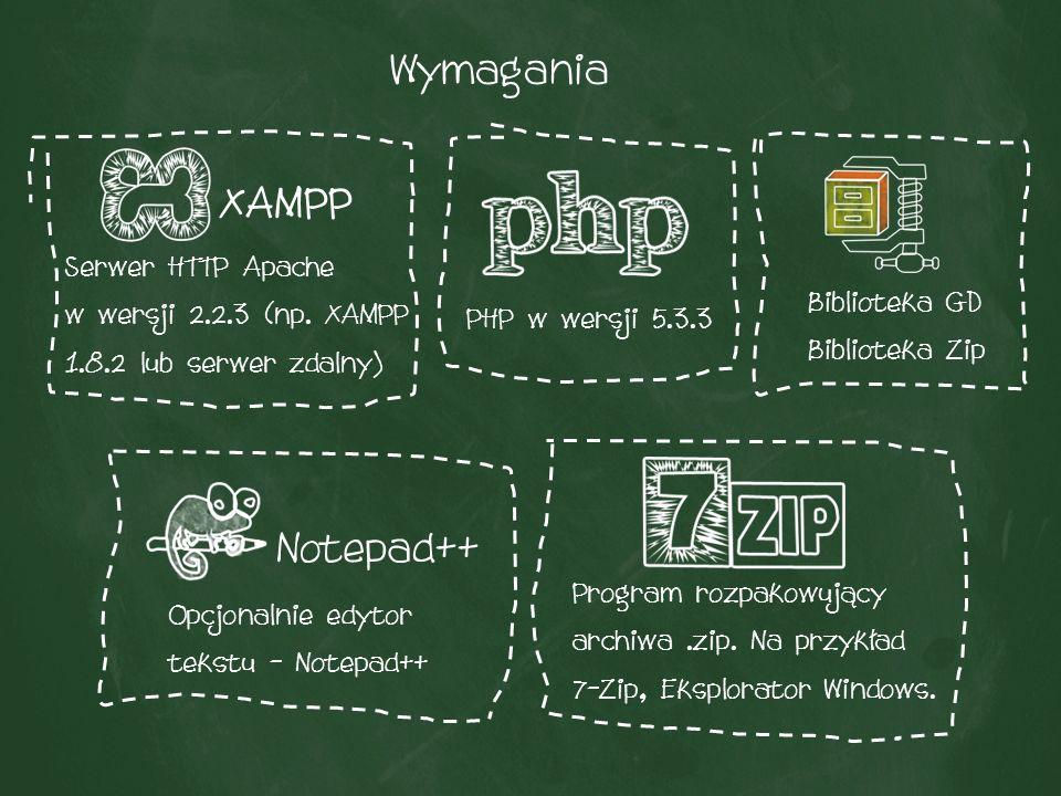 W przypadku dystrybucji XAMPP, serwera Apache lub PHP, generatory mogą zadziałać w wersjach niższych, aczkolwiek nie ma na to gwarancji.