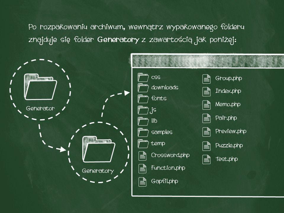 Krok 2: Konfiguracja e-mail Po wejściu do folderu Generatory, należy przejść do ścieżki samples/testy/lesson/lesson/, w której znajduje się plik email.php.