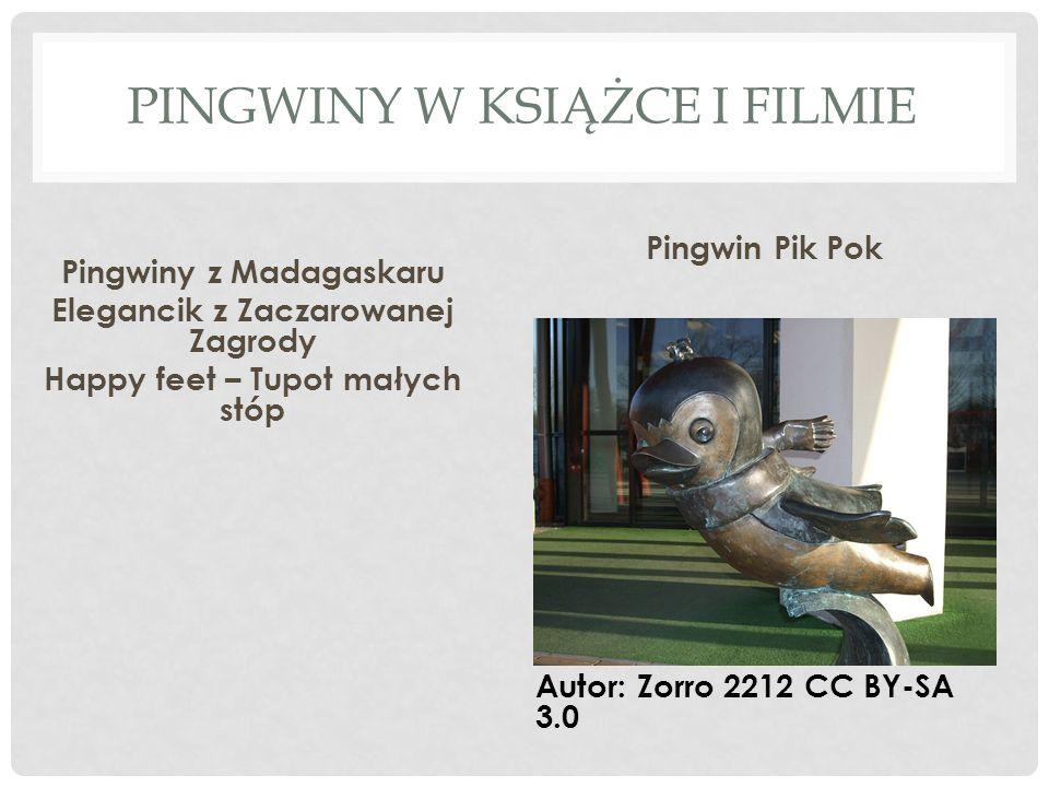 PINGWINY W KSIĄŻCE I FILMIE Pingwiny z Madagaskaru Elegancik z Zaczarowanej Zagrody Happy feet – Tupot małych stóp Pingwin Pik Pok Autor: Zorro 2212 CC BY-SA 3.0