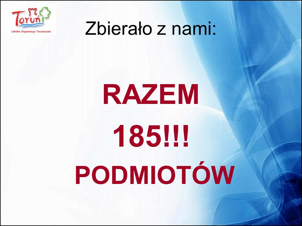 Zbierało z nami: RAZEM 185!!! PODMIOTÓW
