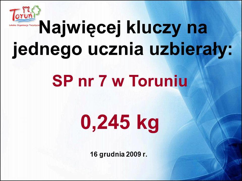 16 grudnia 2009 r. Najwięcej kluczy na jednego ucznia uzbierały: SP nr 7 w Toruniu 0,245 kg