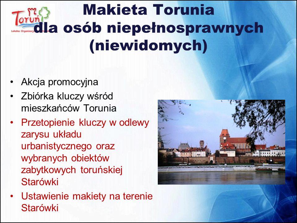 Makieta Torunia dla osób niepełnosprawnych (niewidomych) Akcja promocyjna Zbiórka kluczy wśród mieszkańców Torunia Przetopienie kluczy w odlewy zarysu