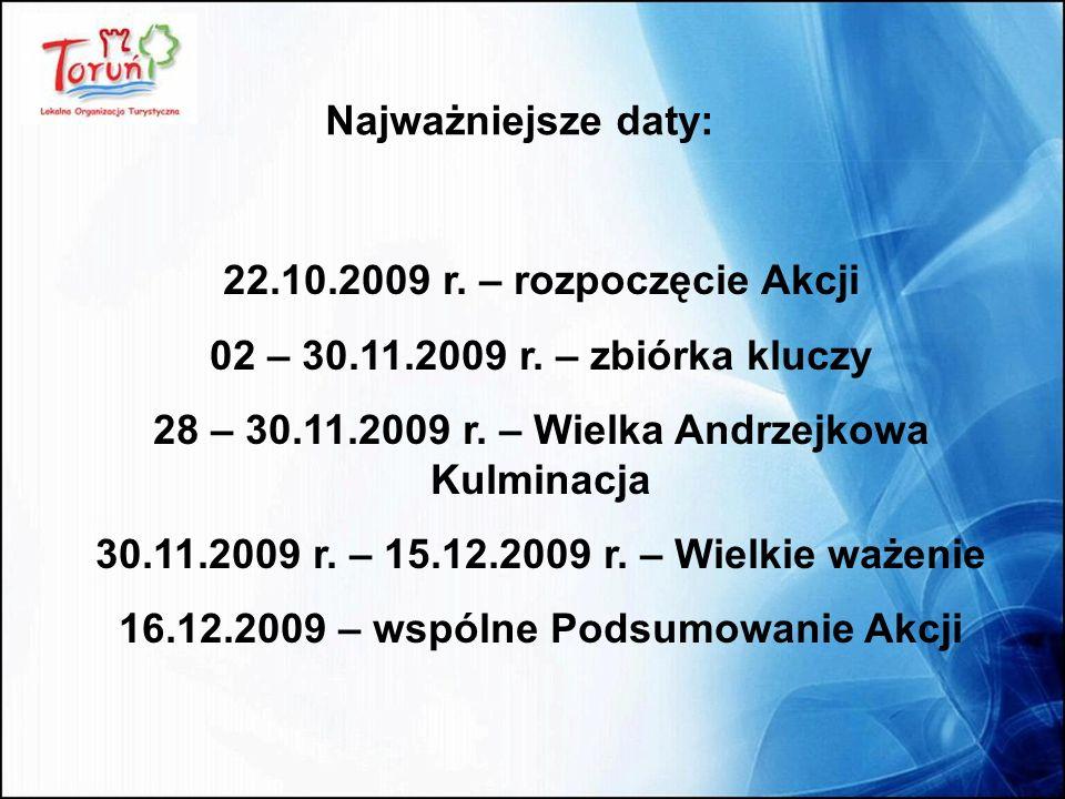 22.10.2009 r. – rozpoczęcie Akcji 02 – 30.11.2009 r. – zbiórka kluczy 28 – 30.11.2009 r. – Wielka Andrzejkowa Kulminacja 30.11.2009 r. – 15.12.2009 r.