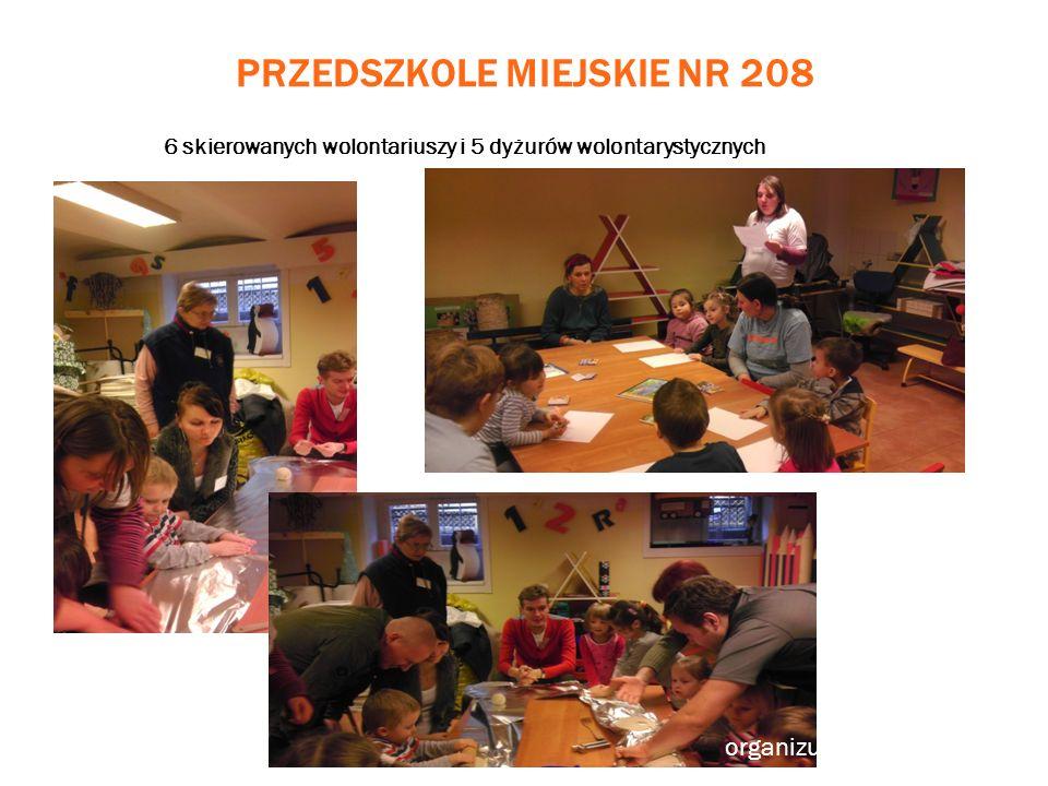 PRZEDSZKOLE MIEJSKIE NR 208 6 skierowanych wolontariuszy i 5 dyżurów wolontarystycznych organizujemy warsztaty