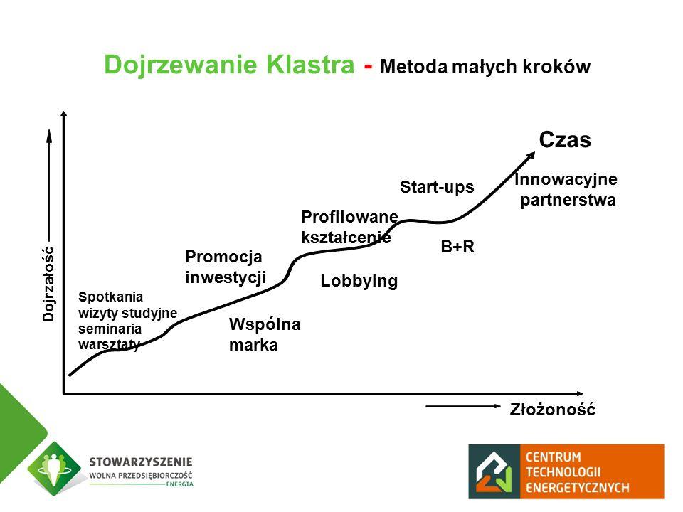 Dojrzewanie Klastra - Metoda małych kroków Dojrzałość Złożoność Spotkania wizyty studyjne seminaria warsztaty Czas Promocja inwestycji Wspólna marka Lobbying Profilowane kształcenie B+R Start-ups Innowacyjne partnerstwa