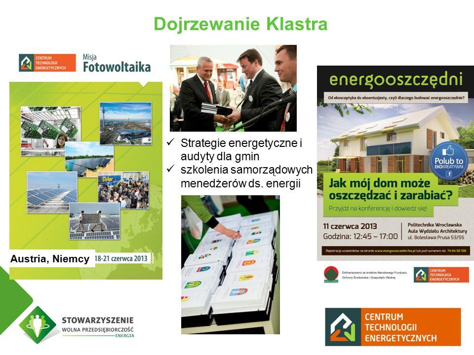 Dojrzewanie Klastra Austria, Niemcy Strategie energetyczne i audyty dla gmin szkolenia samorządowych menedżerów ds.