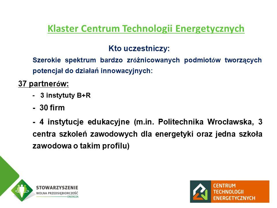 Kto uczestniczy: - Szerokie spektrum bardzo zr ó żnicowanych podmiot ó w tworzących potencjał do działań innowacyjnych: 37 partner ó w: - 3 instytuty B+R - - 30 firm - - 4 instytucje edukacyjne (m.in.