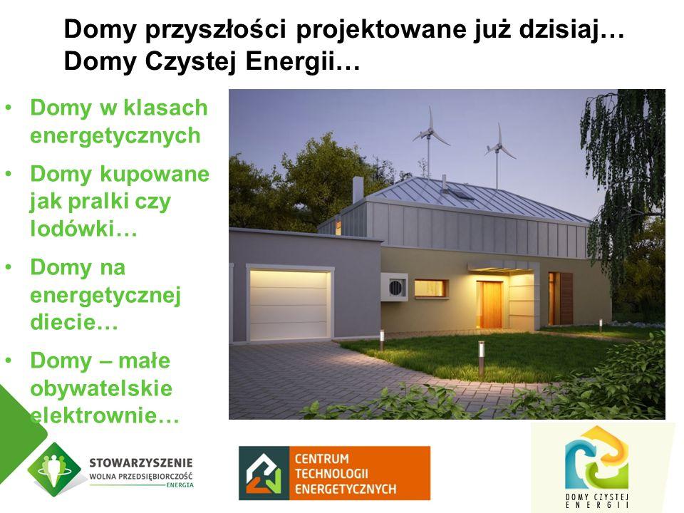 Domy w klasach energetycznych Domy kupowane jak pralki czy lodówki… Domy na energetycznej diecie… Domy – małe obywatelskie elektrownie… Domy przyszłości projektowane już dzisiaj… Domy Czystej Energii…