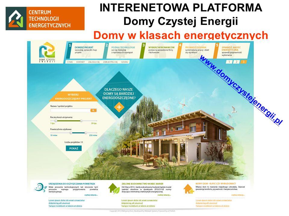INTERENETOWA PLATFORMA Domy Czystej Energii Domy w klasach energetycznych www.domyczystejenergii.pl