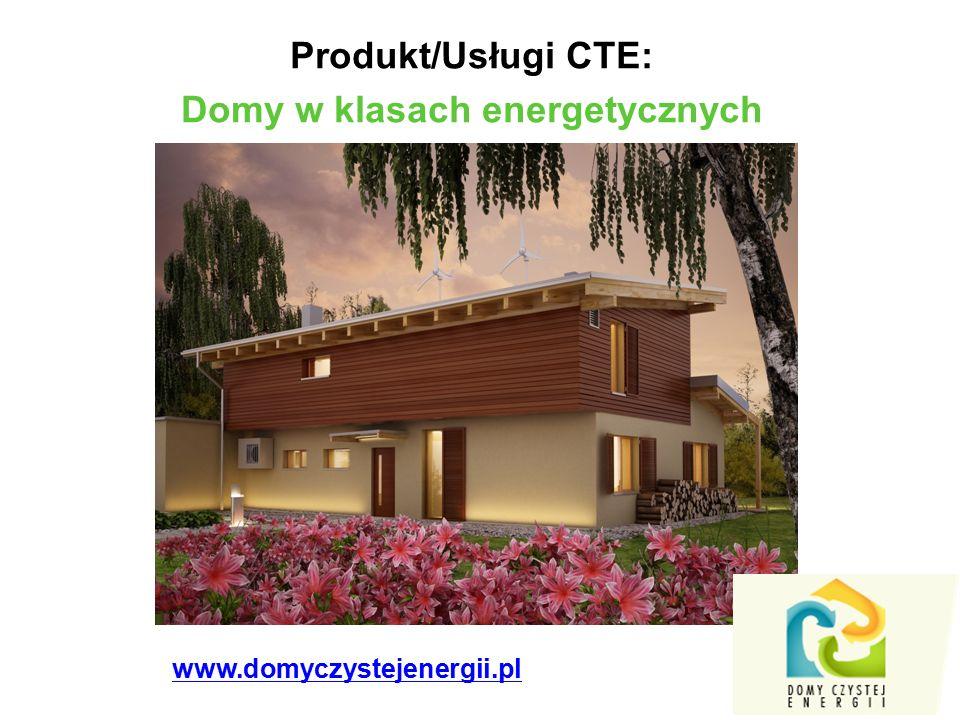 Produkt/Usługi CTE: Domy w klasach energetycznych www.domyczystejenergii.pl