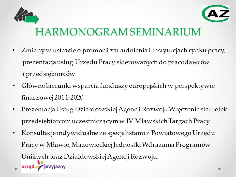 HARMONOGRAM SEMINARIUM Zmiany w ustawie o promocji zatrudnienia i instytucjach rynku pracy, prezentacja usług Urzędu Pracy skierowanych do pracodawców