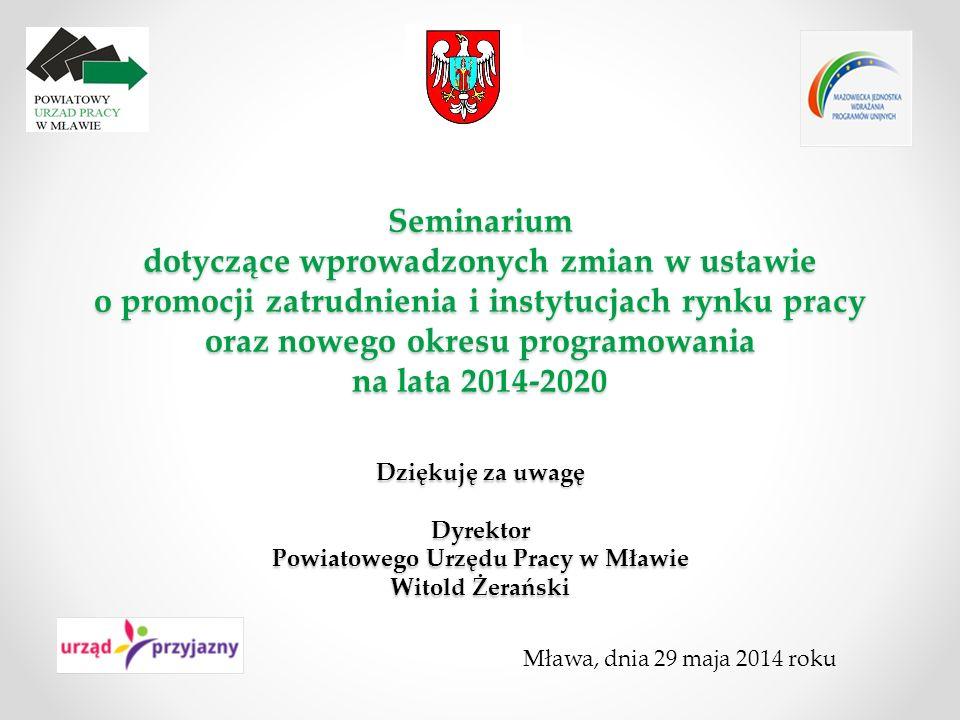 Seminarium dotyczące wprowadzonych zmian w ustawie o promocji zatrudnienia i instytucjach rynku pracy oraz nowego okresu programowania na lata 2014-20